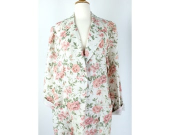 White and Light Pink Rose Print Blazer