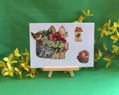 Mother's Day card,handmade recycled fabric greeting card,spring note card,blank,for mom,missing mom,celebration,gardening,5 x 7 framed