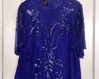 vintage silk beaded top / sequins / blue / holiday / vegas / m / l