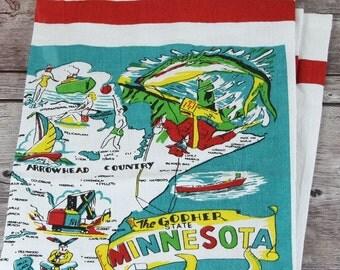 Minnesota Towel | Minnesota Kitchen Towel | Minnesota Tea Towel | Minnesota Flour Sack Towel | Vintage Minnesota Towel | State Towel
