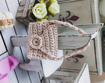 Crochet dollhouse handbag - miniature bag - dollhouse purse - 1 12 dollhouse accessories