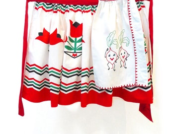 Vintage Tulip Apron With Dancing Radish Embroidery
