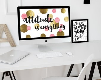 Attitude is everything, Desktop wallpaper, Computer background, Digital wallpaper, Instant download, Pink and gold wallpaper