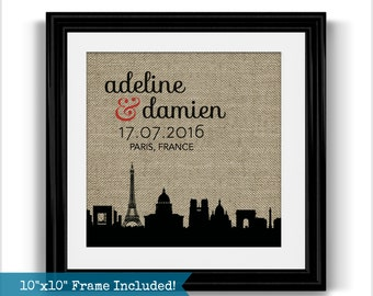 Paris Skyline Framed Burlap Print   Paris Engagement Gift   Personalized Gift   Valentines Day Gift for Husband or Wife   Wedding Gift