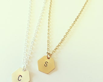 Gold or Silver Plated 12mm Geometric / Hexagon Disc Handstamped Initial Necklace