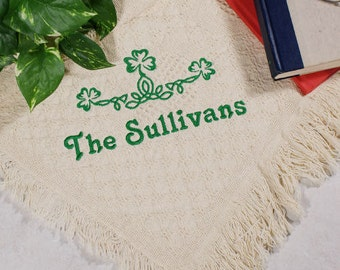 Embroidered Irish Family Name Afghan, Embroidered Family Throw