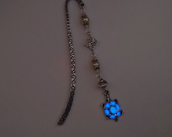 Blue Glowing Bookmark - Small Turtle Glow In The Dark Bookmark - Gifts For Her - Teen Gift