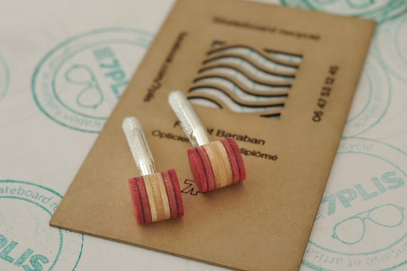 cuff links recycled skateboards handmade pink wood