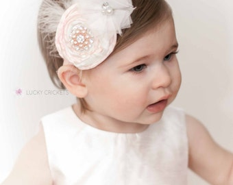 Pink Flower Headband, Light Pink Headband, Gold Pink Birthday, Pink Rose Headband, Pink Gold Baby, Pink Flower Girl, Pink Baby Headband