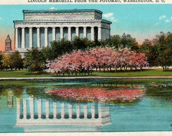 Lincoln Memorial Vintage Tinted Postcard Washington DC View from Potomac River Cherry Blossom Trees