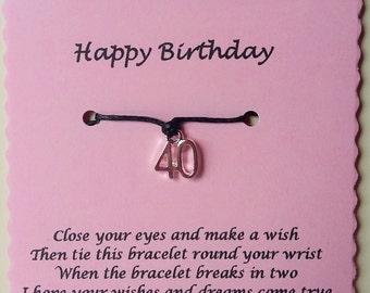 40th Birthday Gift, Wish Bracelet, Friendship Bracelet, 40th Charm Bracelet, 40 today, 40th gift, 40th Birthday Bracelet, Gift 40th, big 40
