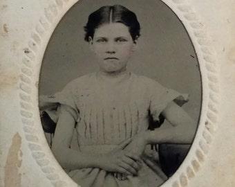 sixth plate tintype girl with frame