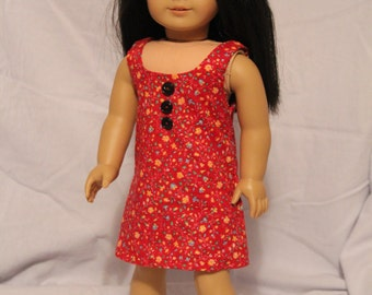 """Red Jumper with Buttons for 18"""" Doll"""