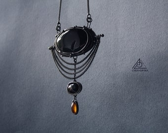 Free Shipping! Onyx agate and amber copper pendant in tiffany technique Long chains pendant with natural stones Black pendant. Retro jewelry