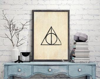 70% OFF SALE Harry Potter Deathly Hallows print - Deathly Hallows poster, Deathly Hallows Symbol wall Art, Harry Potter Fan Art Printable...