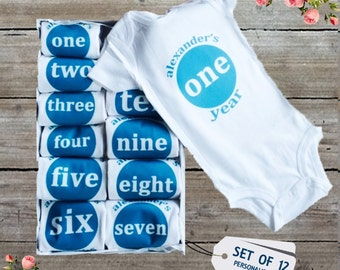 Blue Baby Boy Monthly One Piece Set of 12 - Add Baby's Name - Custom Baby Clothes