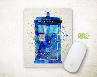 Tardis Doctor Who Watercolor Art Mouse Pad - Mousepad - Home Decor - Gift - Watercolor Painting - Desk Accessories - Kids Decor - P25
