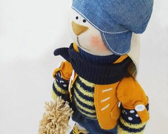 """Fabric doll Artist toy Bunny boy Matt Cloth art doll Rabbit boy Big toy plush buunny tilda boy OOAK 19"""" 48cm Soft Toy Home decor room yellow"""