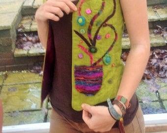 OOAK magical tree waistcoat lined fully lined with rainbow fabrics
