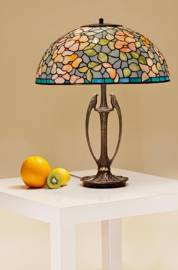 Stained glass floral lamp. Tiffany pastel colors lampshade. Dogwood Tiffany table lamp. Red flowers bedside lamp.