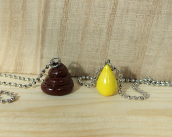 Poop and Pee friendship necklace (pair) with chain