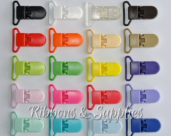 "1"" KAM Plastic Pacifier Clips - 20 Color Choices -  Flat Backs - Suspender Clips - Mitten Clips"