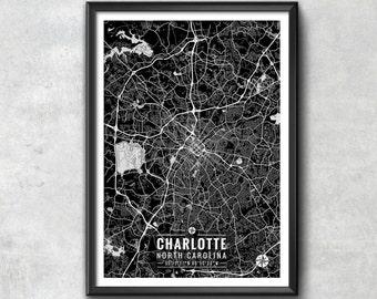 CHARLOTTE North Carolina Map with Coordinates, Charlotte Wall Art, Charlotte Map, Map Art, Charlotte Print, Charlotte Art, Charlotte Poster
