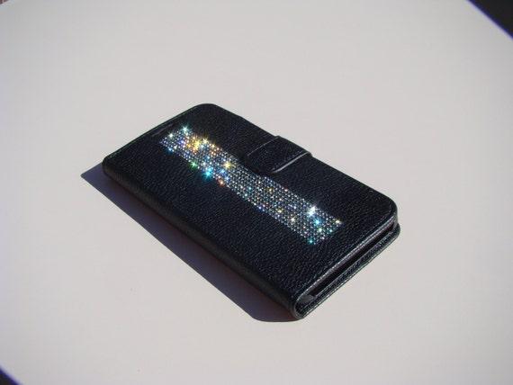 "Galaxy S6  "" Edge Plus"" Black Rhinestone Crystals on Black Wallet Case. Velvet/Silk Pouch bag Included, Genuine Rangsee Crystal Cases."