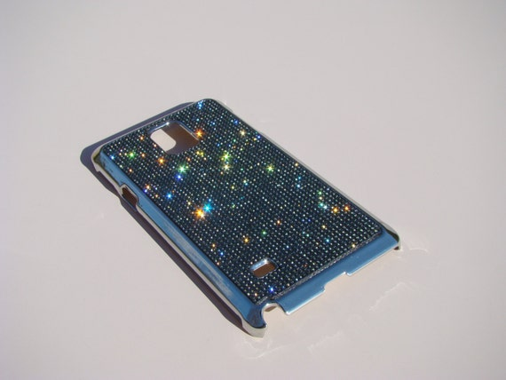 Galaxy Note 4 Black Diamond Rhinestone Crystals on Silver Chrome Case. Velvet/Silk Pouch Bag Included, Genuine Rangsee Crystal Cases.