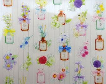 Korean flower & antique bottle special edition stickers - romantic bouquet garden - tea roses and lilies - peonies - daisies - purple mums