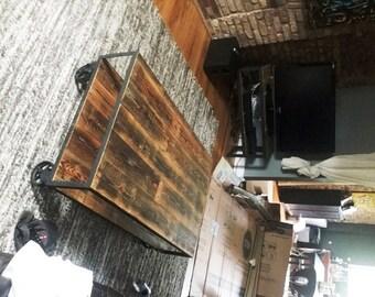Bon Vintage Industrial Coffee Table On Steel Casters. Reclaimed Wood U0026 Recycled  Steel