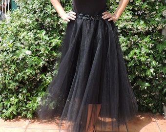 Wide circle  skirt in  black tulle