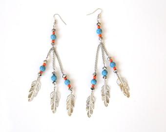 Feather Boho Dangle Earrings, Feather Earrings, Earrings, Boho Earrings, Feather Earring, Drop Earrings, Feather Jewelry, Boho Jewelry
