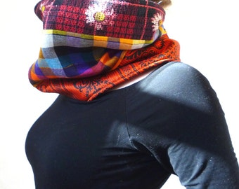 Upcycled Colorful Floral and Flannel Fall/Winter Patchwork Scarf/Cowl