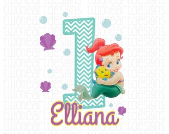 Baby Mermaid Birthday Name Party Iron On - Digital Download - You Print