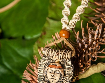 Necklace in macramè with polymer clay pendant with indian goddess