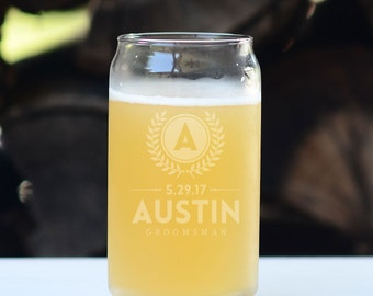 Beer Can Glass - One Glass - Groomsman Gift Ideas - Wedding Party Gift - Personalized Beer Glass