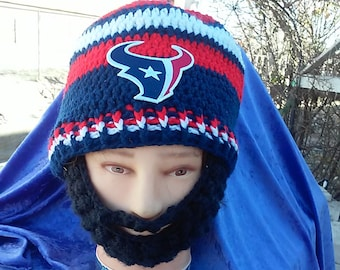 HOUSTON TEXANS Bearded Beanie,Custom Any Size any Color,Gift, Velcro Both sides of Beard & Beanie 4 Perfect Fit,Texans embroidered Patch