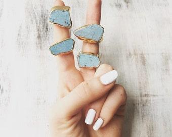 Turquoise nugget ring, gold rings, gemstone rings, raw crystal ring, electrofotmed, boho ring, raw turquoise, turquoise slice, lalaboho.