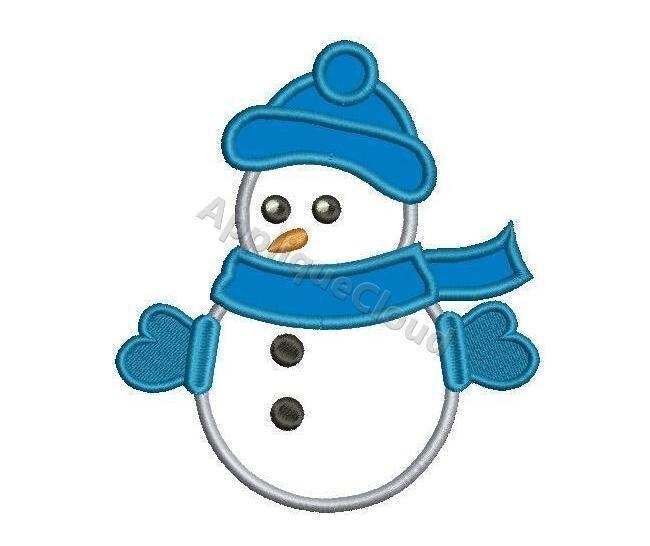 Snowman embroidery applique design pattern