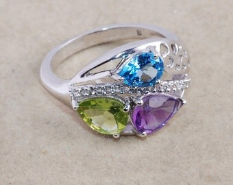 Amethyst Ring - Blue Topaz Ring - Peridot Ring - Multi Gemstone Ring - 925 Sterling Silver Ring Jewelry - Prong Set Ring - Christmas Gift