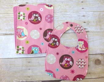 Owl Always Love You Bib and Burp Cloth Set, Owl Baby Shower, Owl Baby, Owl Bib, Owl Baby Gift, Owl Nursery, Baby Girl Gift, Girl Baby Set