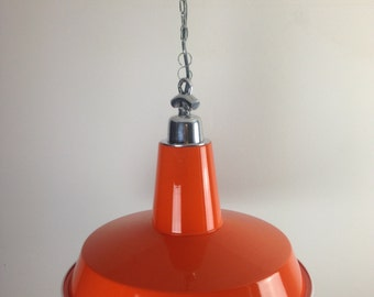 Large Orange Industrial Ceiling Light
