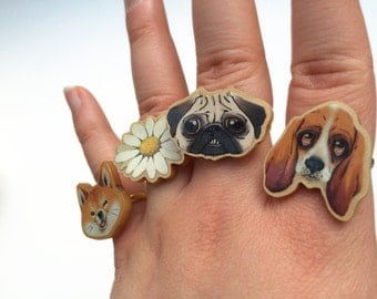 Dogs and cats rings (and a daisy)