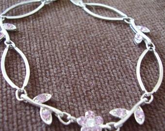 Bracelet Pink Crystal Flower Silver-tone Open-link Vintage Bangle