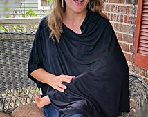 Black jersey knit nursing poncho, Soft breastfeeding cover, Sizes Regular and Large  poncho for women, car seat cover, gift for new mom