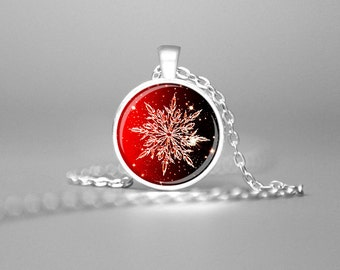 SNOWFLAKE NECKLACE CHRISTMAS Pendant Red Winter Necklace Snowflake Jewelry Winter Pendant Holiday Pendant Christmas Necklace Holiday Gift