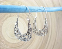 Filigree Hoop Earrings - Sterling Silver Earrings Pretty Lace Hoop Earrings Jewelry Accessory Gift Ideas & Daily Wear
