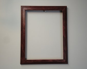 Upcycled Solid Wood 8 1/2 X 11 Distressed Maroon, Rustic, Shabby Chic Picture Frame