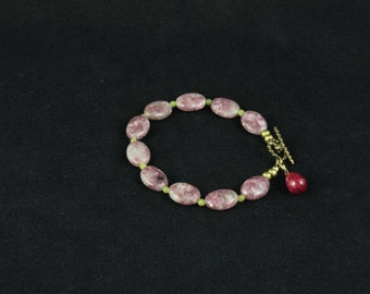 Pink Lepidolite Bracelet with Serpentine and Ruby
